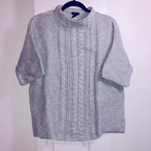 Sky Blue / Grey Cozy Cable Knit Woven Sweater